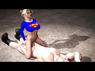 blonde ponytailed supergirl riding