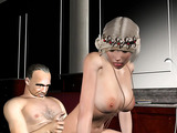 Raunchy blonde beauty pleasing her boss orally before jumping on his stiff prick