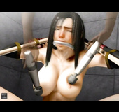 Busty brunette in bondage gets tortured with sex toys and fucked roughly