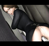 Busty toon slut in glasses and nylons gets assfucked with her twat plugged with a toy