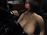 Ugly allien fucking big-boobed brunette in glasses into mouth, tits and pussy