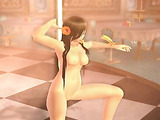 Cool pole dance from hot brunette buxom with hair flower