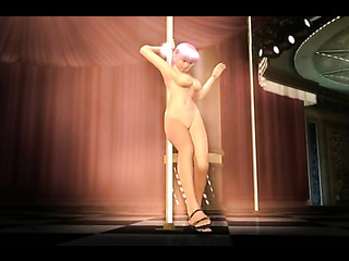 pink-haired toon stripper performing