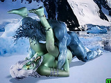Ice creature fucking green-skinned nymph