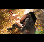 Horny werewolf is happy to handle hot inked redhead
