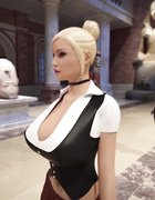 Gorgeous futa girls fucking in an empty museum
