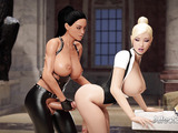 Anal and 69 for hot futa girls in imposing museum