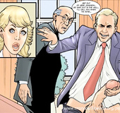 Blonde cocksucker's arousing office fuck