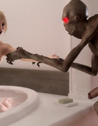 Weird alien bangs a chesty babe in the bathroom