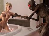 Weird alien bangs a chesty babe in the bathroom