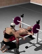3D babe sucks dick while workout